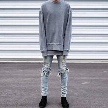 Hip hop одежда дизайнер брюки синий/черный байкер уничтожено мужские тонкий деним прямые узкие джинсы для мужчин разорвал синий джинсы 28-40