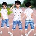Мальчики Лето Одежда наборы 2 шт. набор рубашки Поло + Джинсы Детские Спортивные костюмы Детские Хлопчатобумажные Костюмы Повседневная одежда наряд