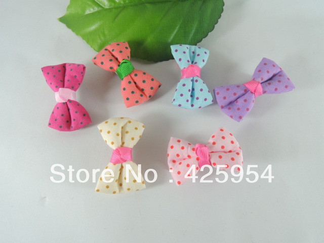Free shipping  Printed Dot Bow Wrapping cloth Hair clips Children's Hair accessories  Multicolor Mixed   30pcs/lot