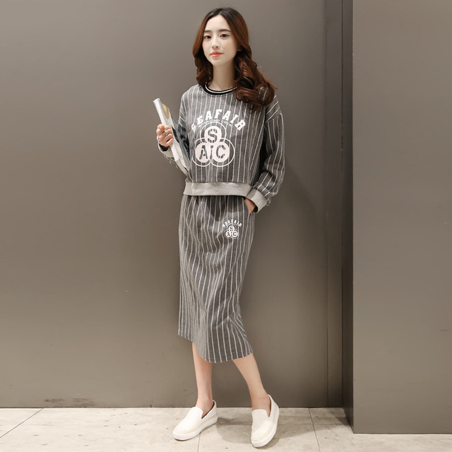 2016 new spring Korean fashion stamp loose fitting long sleeved short paragraph sweater long skirt two piece