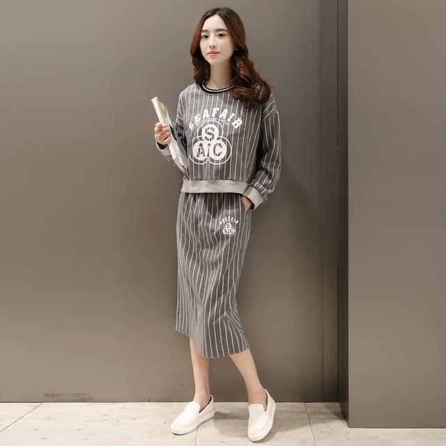 2016 nova primavera moda Coreana selo folgada de manga comprida curto parágrafo camisola longa saia duas peças