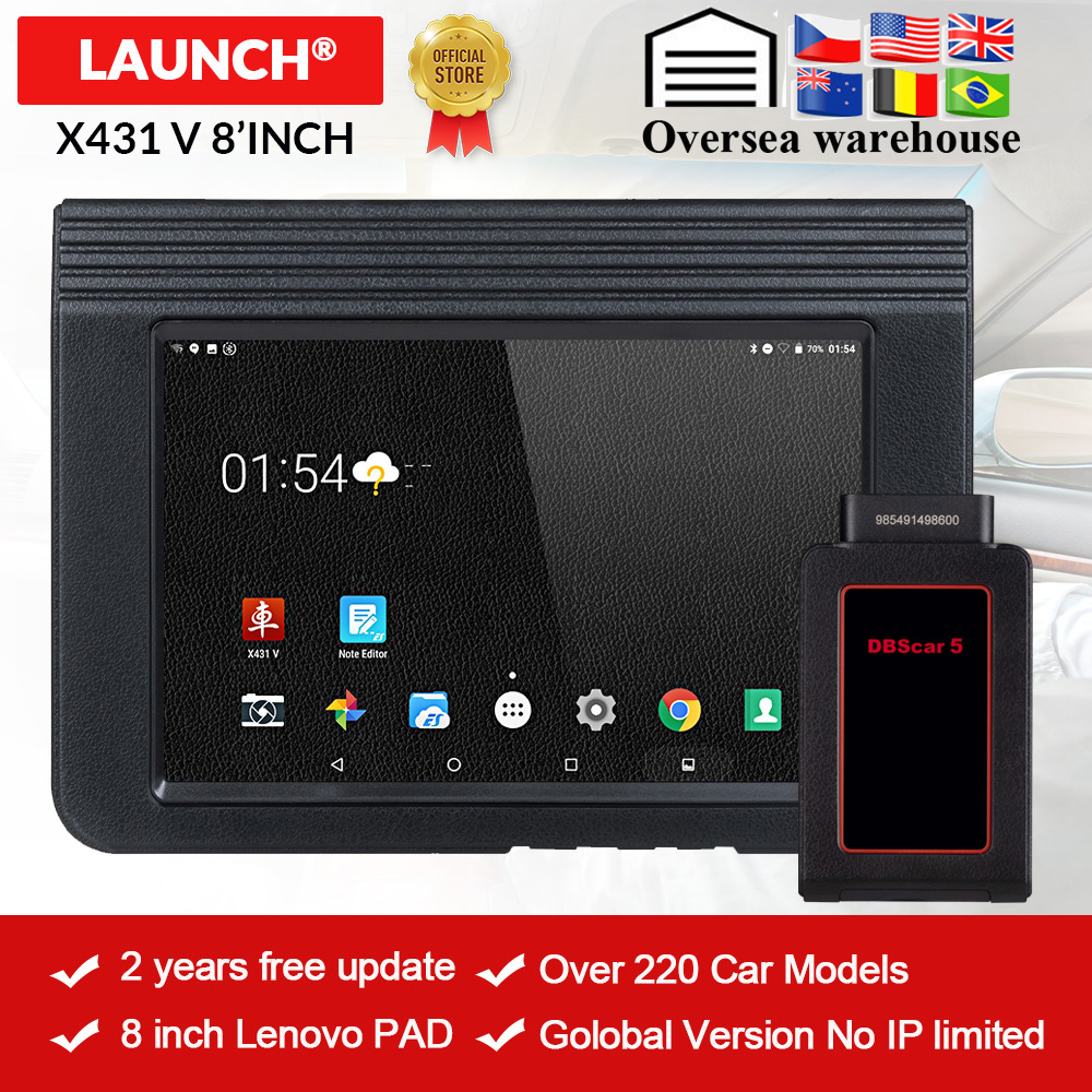 LAUNCH X431 V 8 Bluetooth/Wi-Fi Automotive Full System Diagnostic tool ECU Coding X-431 V Pro mini OBD2 Scanner update online(China)