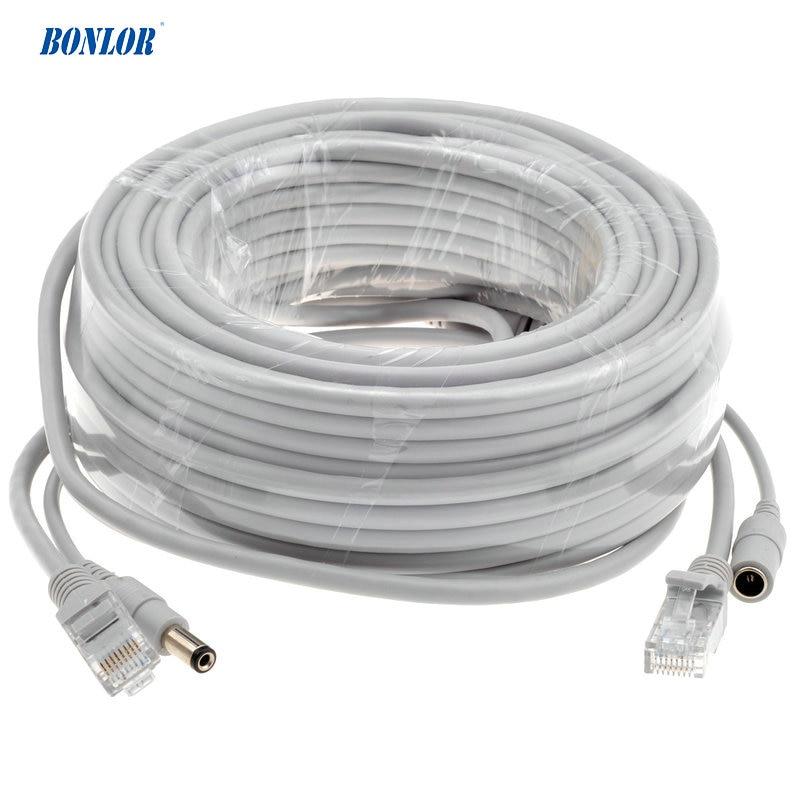 BONLOR 5M/10M/15M/20M/30M Optional Gray CAT5/CAT-5e Ethernet Cable RJ45 + DC Power CCTV Network Lan Cable For System IP Cameras