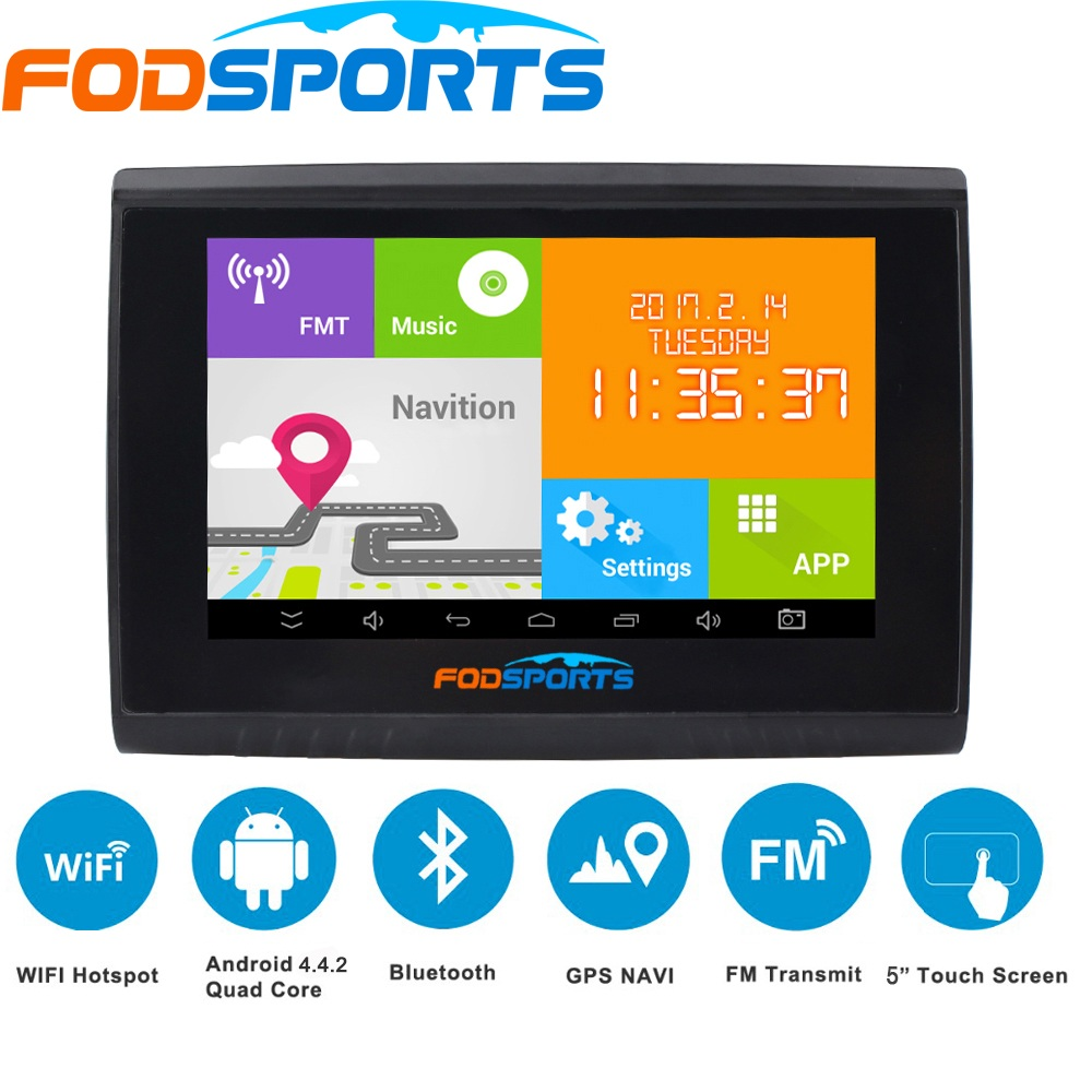 Fodsports 5.0 pulgadas Android Motocicleta Navegador Moto impermeable Navegación FM WIFI 8GB Moto GPS