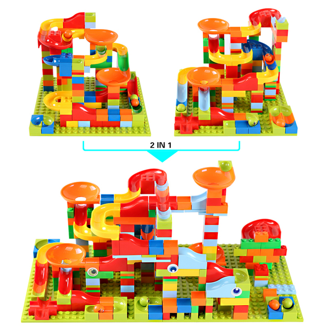 165-330pcs Small Size Marble Race Run City Blocks Track Building Blocks ABS Funnel Slide Assemble Bricks Toys For Children