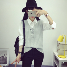 Sweaters for Women Fashion Long Sleeve Jacket Small Plaid Hedging Sleeveless Vest Sweater Vest Gray Red Camel As1606