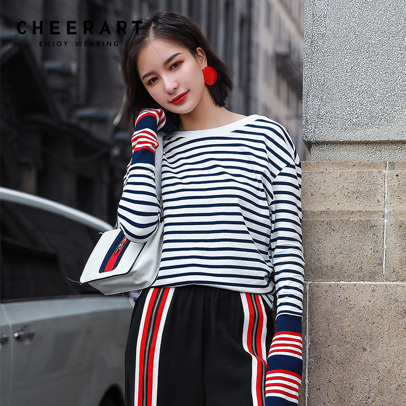 Cheerart Spring Striped Top Women Cotton Flare Long Sleeve T Shirt Preppy Style Tee Shirt Femme Korean Clothes