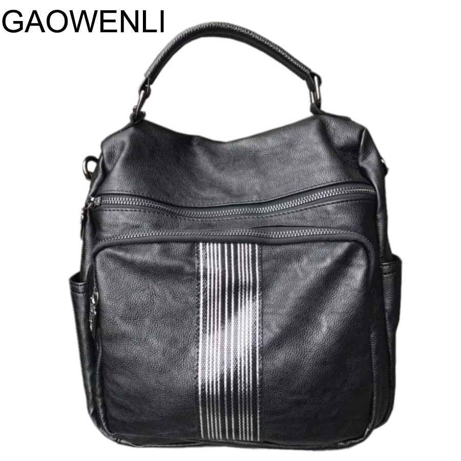 GAOWENLI brand vintage women backpack leather school backpacks for teenage girls casual large capacity shoulder bags brand women backpack pu leather school backpacks for teenage girls shoulder bag large capacity travel bags