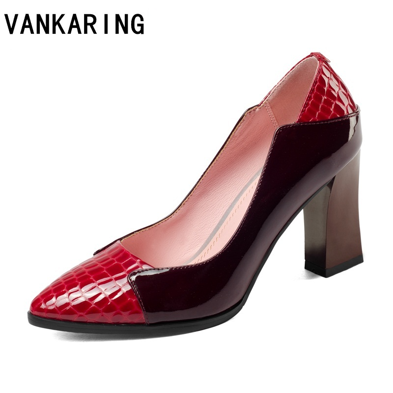 VANKARING genuine leather women shoes sexy high heels shoes red pumps women fashion pointed toe party wedding shoes ladies pumps цена 2017