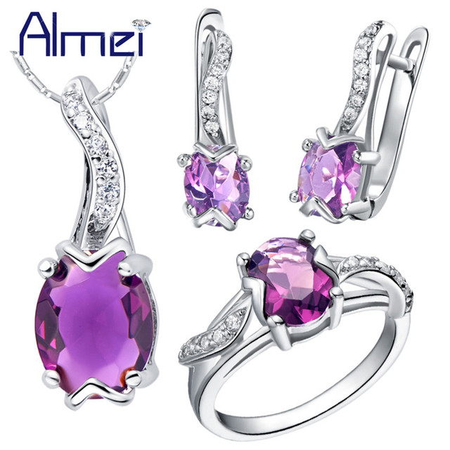 Almei 40%Off Jewelry Set 925 Sterling Silver Zircon Bijoux Cute Red Crystal Wedding Accessories Party Ring For Women Female T232