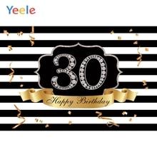 Yeele Happy 30th Birthday Party Photocall Background Gold Diamond Woman Man Custom Vinyl Photography Backdrop For Photo Studio