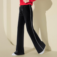 2018 Autumn Winter Pleuche High Waist Wide Leg Pants Palazzo Black Pants for Women Casual Loose Striped Pants New Warm Trousers