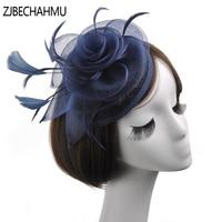 Fashion Vintage Elegant Linen Feather birthday party Fedoras For Women Girl Wedding headdress Fedora Hat New Apparel Accessories