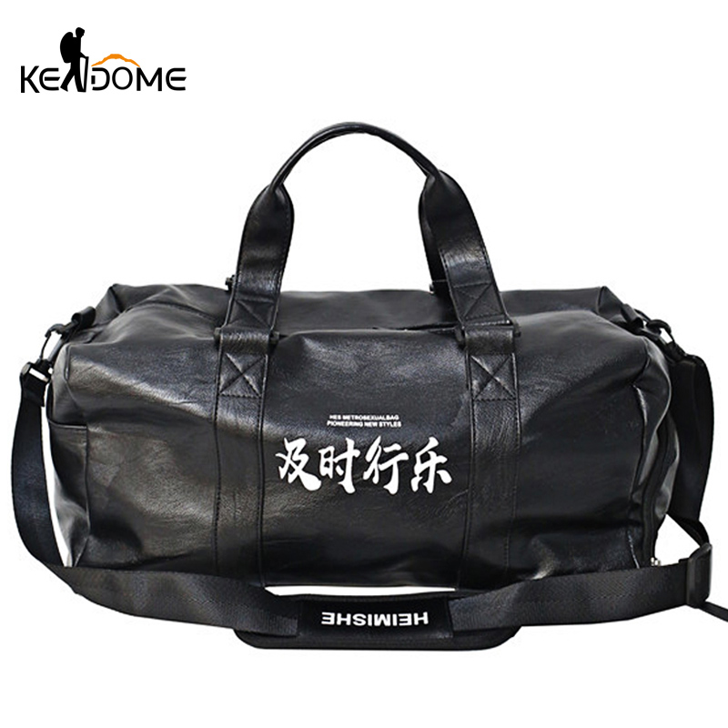 Fitness Soft PU Leather Gym Bag For Women Travel Shoulder Handbag Large Capacity Male Sporttas Sport Tas Tassen Heren Red XA13D