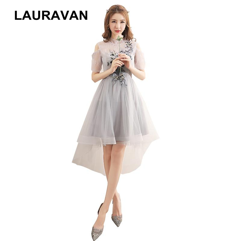 sweet 16 pretty   dresses   formal high low gray sleeved tulle   dress   fitted   bridesmaid     dress   for girls with flower applique cheap