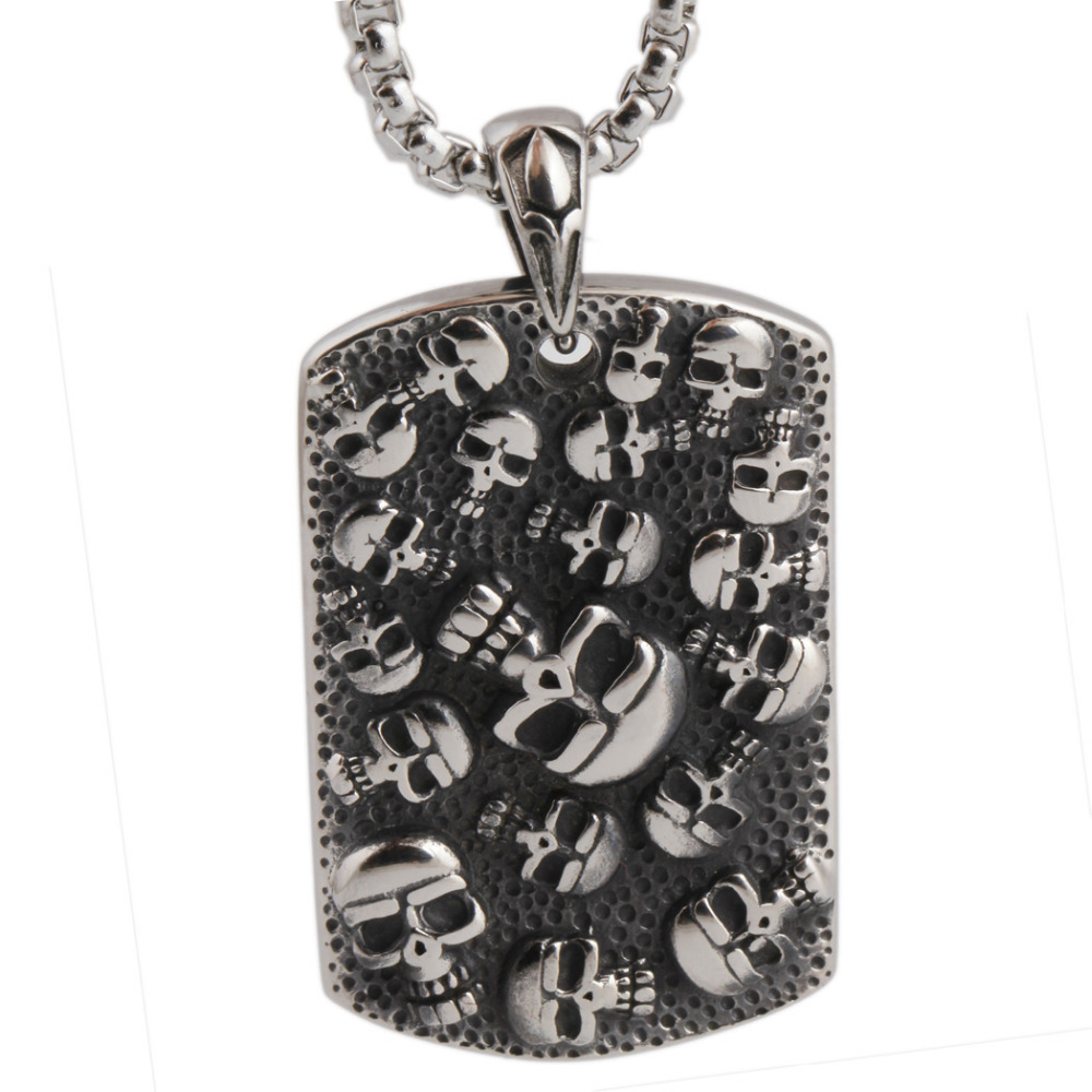 Punk mexican tattoo stainless steel skull pendants for Stainless steel jewelry necklace