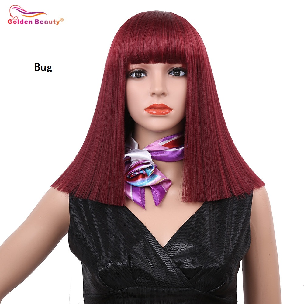 14inch Silky Long Straight Synthetic Hair Wig Mixed Color Blue Blonde Wine Red Cosplay Natural Bob Wigs for Women Golden Beauty ...