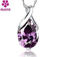 Женская Посеребренная Подвеска с фиолетовым кристаллом класса