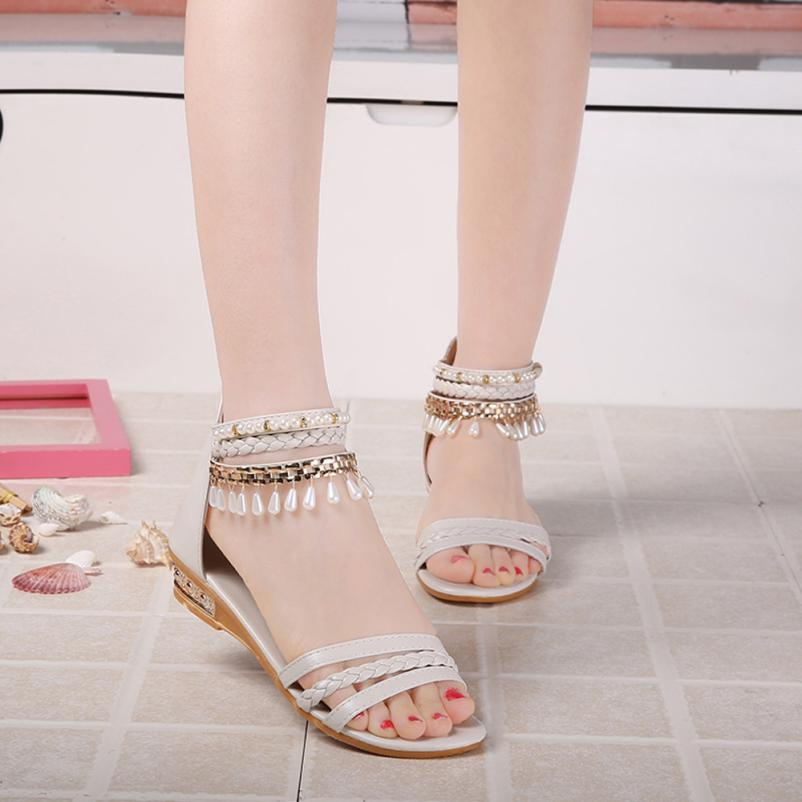 Mooistar2 #3002 2017 Women Sweet flat Shoes Summer Elegant Platform Shoes Woman Pearl Wedges Sandals Casual Shoes sandals phyanic 2017 gladiator sandals gold silver shoes woman summer platform wedges glitters creepers casual women shoes phy3323
