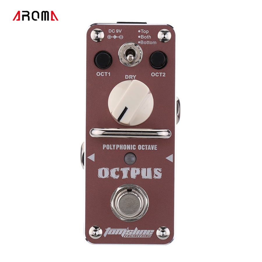AROMA AOS-3 Octpus Polyphonic Octave Electric Guitar Effect Pedal Mini Single Effect with True Bypass mooer ensemble queen bass chorus effect pedal mini guitar effects true bypass with free connector and footswitch topper