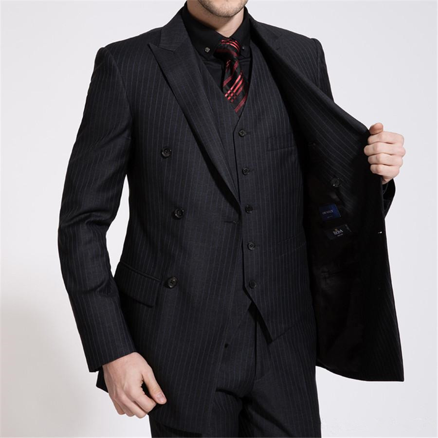 Black Double Breasted Pinstripe Suit Promotion-Shop for ...