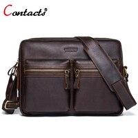 CONTACT S Genuine Leather Men Bag Men Handbags Male Shoulder Messenger Bags For Men Business Laptop