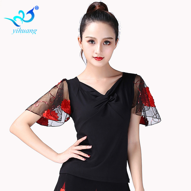 Бальные танцы Топ фламенко блузка Стандартный современный танцор костюм одежда для выступлений вальс одежда с короткими рукавами 7 цветов
