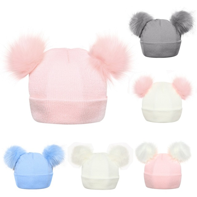94cac002083 Winter Knitted Baby Hats 2018 Girls Boys Sweet Solid Hat With Two Fur  Pompoms Balls Kids