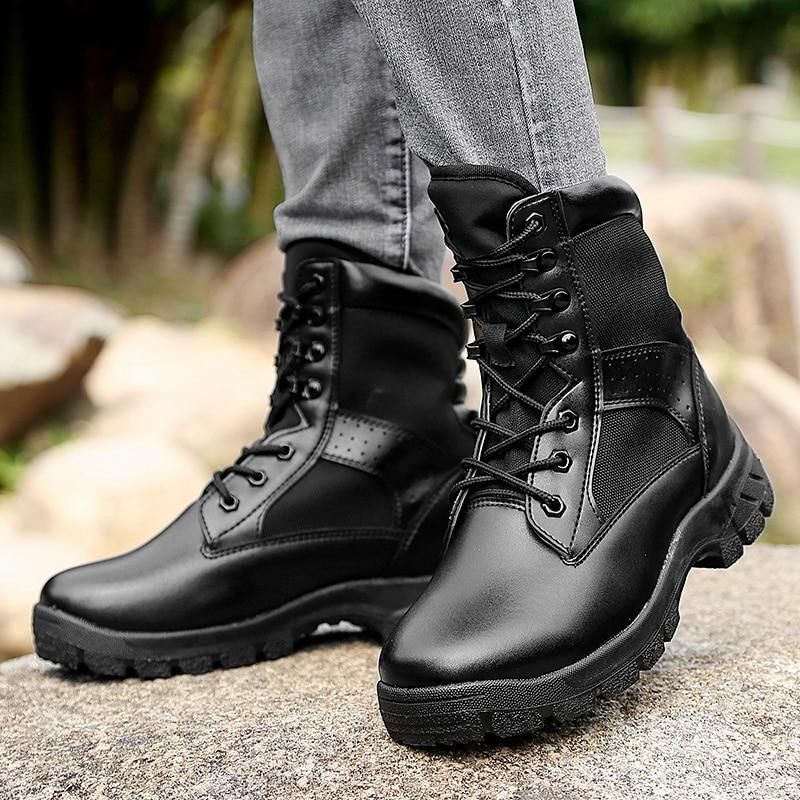 2019 Hot Koop Mannen Werken Laarzen Mannen Lederen Militaire Schoenen In Outdoor Tactische Laarzen Mode Outdoor Mannen Laarzen Big Size 45 46 - 6