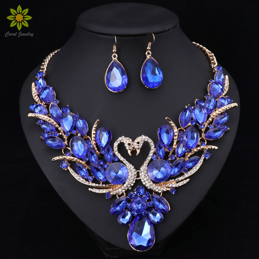 Crystal Bridal Jewelry Sets Gold Color Swan Pendant Necklace Women Gift Party Wedding Prom Necklace Earring