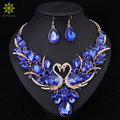 Crystal Bridal Jewelry Sets Gold Plated Swan Pendant Necklace Women Gift Party Wedding Prom Necklace Earring Accessories