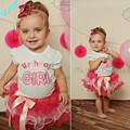 2016 Toddler Baby Girls Birthday Party Top T-shirt Layered Ribbon Tutu Skirt set 0~3Y Tracksuit For Baby Kids Girls Clothes