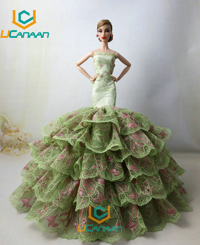 Not Include the Doll ! Ucanaan 1 PC Fishtail Gown For Barbie Doll Restricted Assortment Elegant Darkish inexperienced Handmade Gown Garments