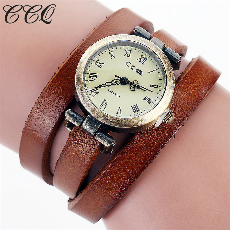 CCQ Brand Fashion Vintage Cow Leather Bracelet Roma Watch Women WristWatch Casual Luxury Quartz Watch Relogio Feminino Gift 1810