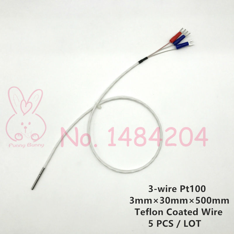 5x PT100 Temperature Sensor 3mm*30mm Platinum Resistance RTD Probe 3 ...