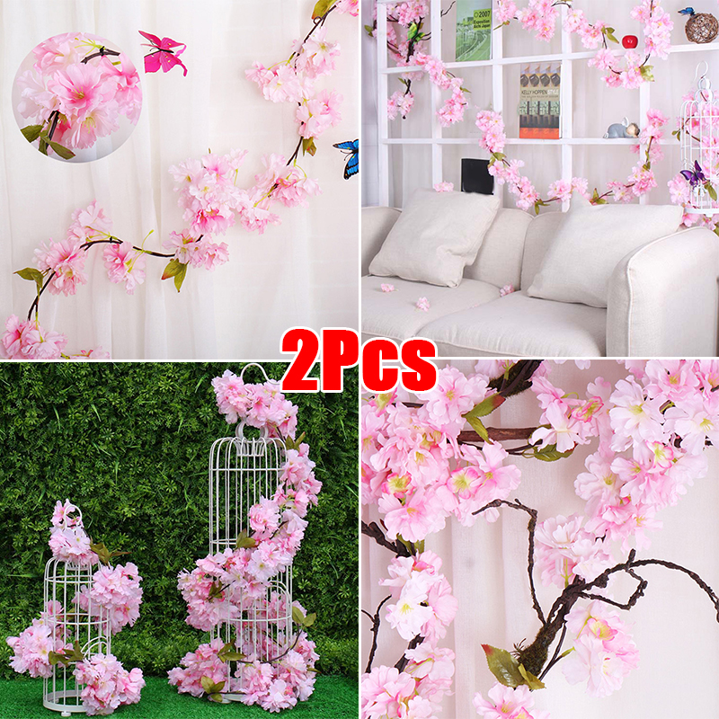 2PCS Artificial Cherry Blossom Vine Garland Wreath Hanging Plant Flower For Weddings, Walls, Pipes