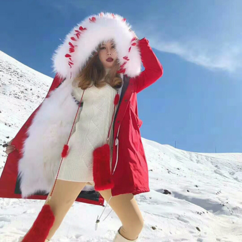 Fashion Winter Women Red Real Feather Fur Coat Red Long   Parkas   Mujer 2018 Plus Size Natural Real Fox Fur Liner Hight-end   Parkas
