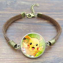 Cute Pokemon Pikachu Bracelet With Retro Brown Rope