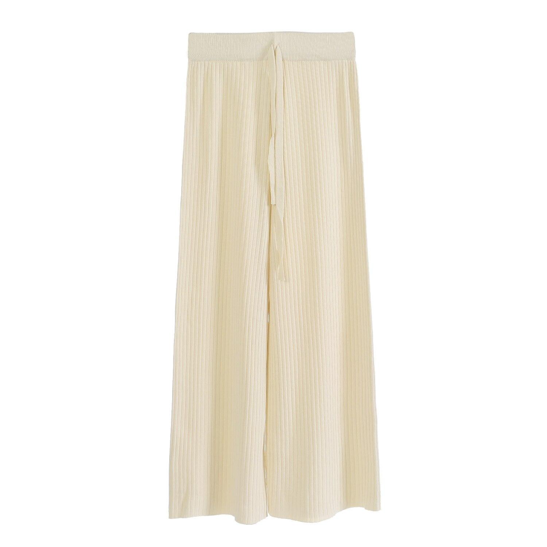 Primavera Verano Pierna negro La Mujer Beige Coreana Versión Sección 0714 Delgada Cintura Alta Ancha blanco Cuentas De Hielo Y marrón Seda Pantalones Salvaje 8Y5qAw8
