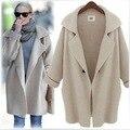Europe 2016 Autumn New Hot Sale Long Coat Fashion Style Loose Long-sleeved Knit Cardigan Coat Wild Jacket Free Shipping