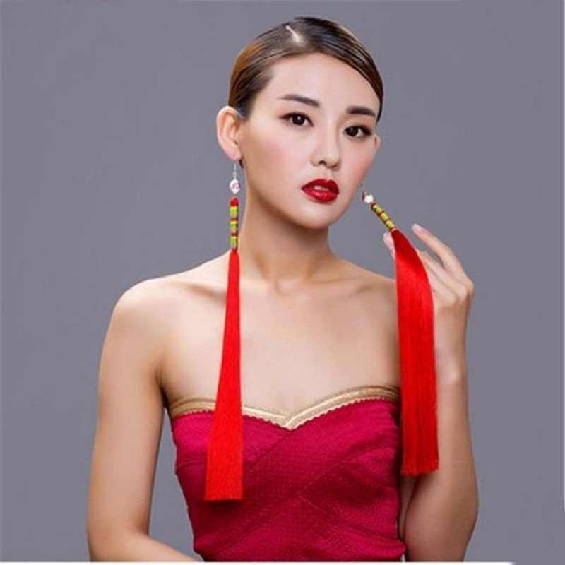 ヴィンテージイヤリングロングタッセルイヤリング、手作り中国風セラミックスジュエリーフリンジ女性 J1481