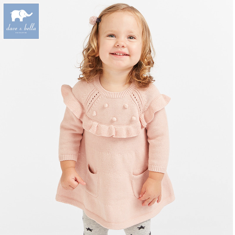 DB8974 dave bella autumn baby Lolita Knitted Dress girls print long sleeve dresses children boutique clothing bishop sleeve tropical print dress