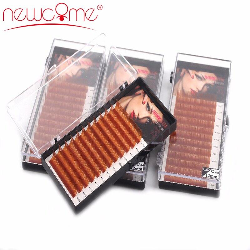 NEWCOME 1 случай, коричневый Цвет наращивания ресниц, светло-коричневый ресницы, Коричневые Ресницы, 0,07 Curl C D искусственной норки накладные ресн...