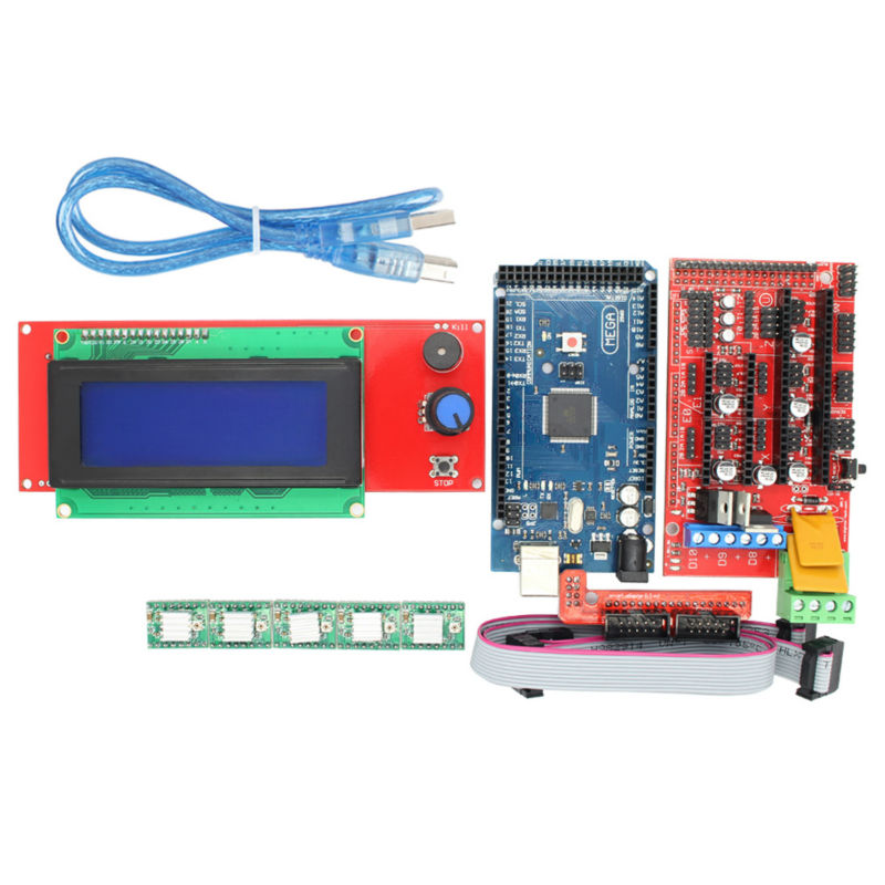 1pcs RAMPS 1.4 Controller+1pcs Mega 2560 R3 + 5pcs A4988 Stepper Driver Module +1pcs 2004 LCD control for 3D Printer kit