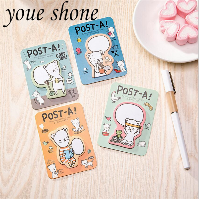 Notebooks & Writing Pads Memo Pads Honest 4pcs/kawaii Creative Bear Sticky Notes Fashionable Miniature Cartoon Memo Pad Stickers Stationery Office Supplies Supplement The Vital Energy And Nourish Yin
