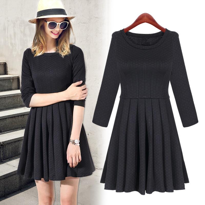 2015 Winter Spring Black Short Long Sleeve Slim Dresses