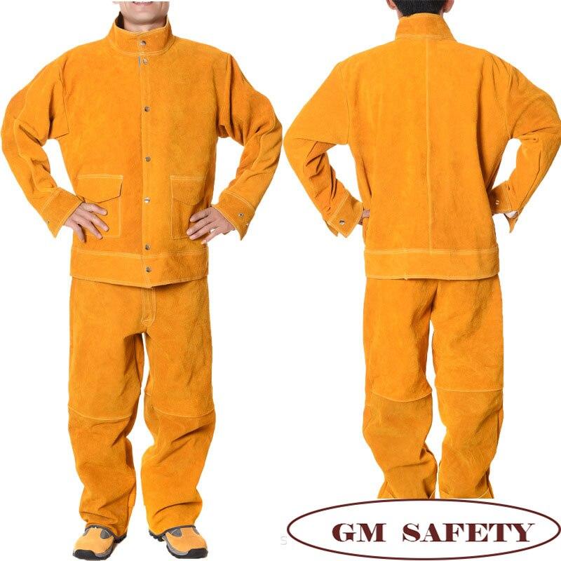 Vêtements de travail de soudure électrique en cuir de vache costume de peau de vache pour soudeurs soudant des vestes de travail de protection hommes NL001