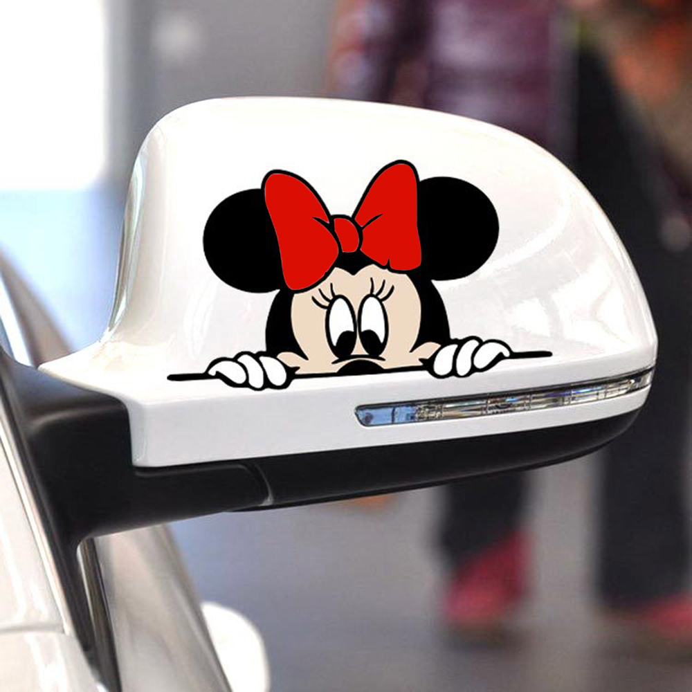 2 X Newest Mickey And Minnie Creative Auto Decal Cartoon Car Sticker Car Rear View Mirror Car Bumper Body Creative Pattern Vinyl