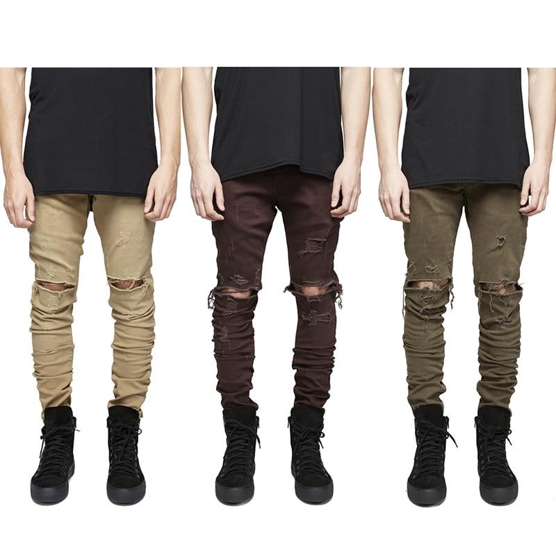 2016 high quality jeans men Pants Casual Skinny Solid Hip Hop damage hole Trousers Pants Men