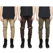 2016 high quality jeans men Pants Casual Skinny Solid Hip Hop damage hole Trousers Pants Men Joggers Slimming pants